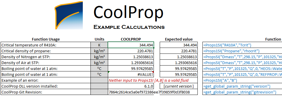 coolprop sample calculation excel