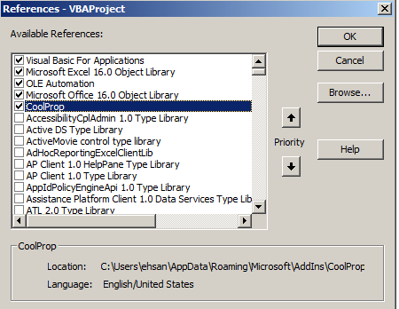 reference coolprop vba